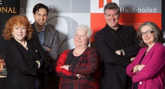 Left to right: Jane Gregory, David Shelley, Val McDermid, Martyn Waites and NJ Cooper