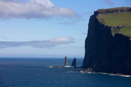 Risin og kellingin - the giant and the witch - are two basalt stacks.